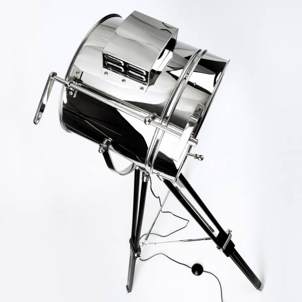 stehleuchte stehlampe industrie industry design stativ holzbein metall chrom ebay. Black Bedroom Furniture Sets. Home Design Ideas