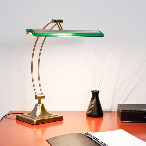 led bankerlampe tischleuchte tischleuchte metall glas messing antik gr n ebay. Black Bedroom Furniture Sets. Home Design Ideas