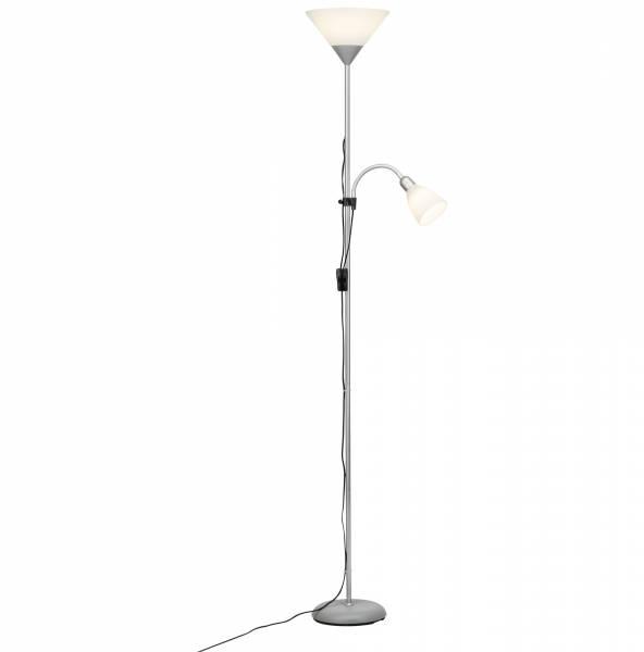 led stehlampe deckenfluter mit lesearm metall kunststoff silber wei ebay. Black Bedroom Furniture Sets. Home Design Ideas