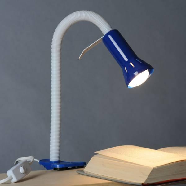 Praktische Klemmleuchte mit Flexgelenk, flexible Arbeitsleuchte, 1x E14 max. 40W, Metall / Kunststoff, blau