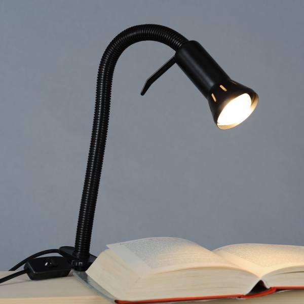 Praktische Klemmleuchte mit Flexgelenk, flexible Arbeitsleuchte, 1x E14 max. 40W, Metall / Kunststoff, schwarz