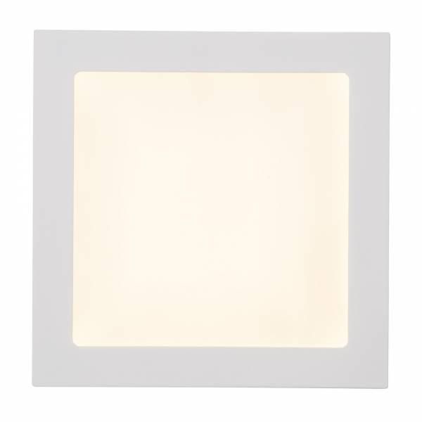 Moderne 18W LED Einbauleuchte Panel, quadratisch 22,5cm x 22,5cm, 1620 Lumen, 3000K, Metall / Kunststoff, weiß