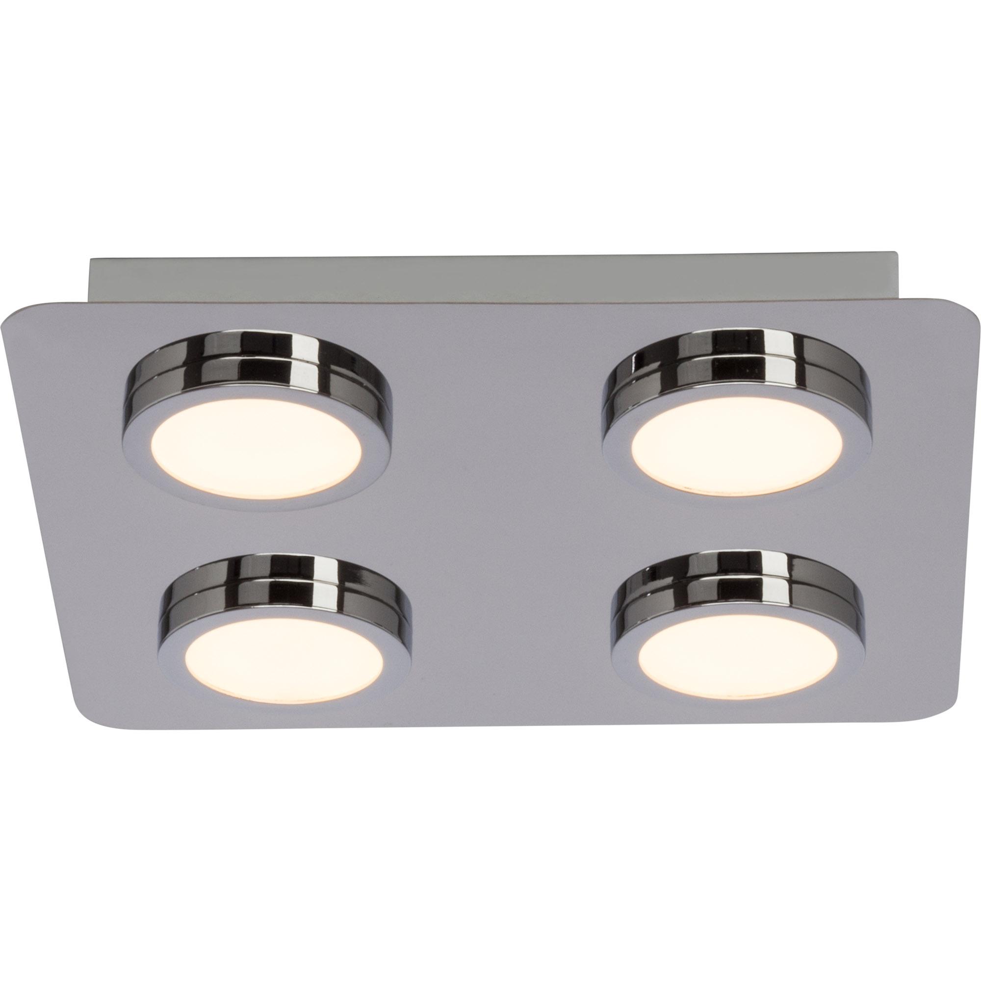 Badezimmer LED Deckenleuchte, IP16 Spritzwassergeschützt, 16x 16W LED  integriert, 16x 16 Lumen, 16K warmweiß, Metall / Kunststoff, chrom / weiß