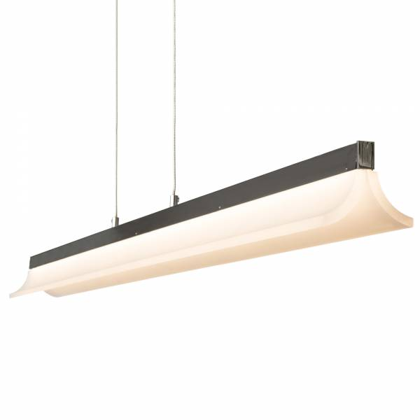 Moderne LED Pendelleuchte, H 126 cm, H 100 cm, 1x 23,1W LED integriert, 1440 Lumen, 3000K warmweiß, Metall / Kunststoff, chrom