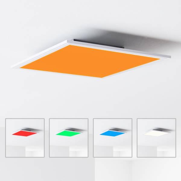 LED Panel Deckenleuchte mit RGB Farbwechsel per Fernbedienung steuerbar, 40x40cm, 40 Watt, 2400 Lumen, 2700-6500 Kelvin; Metall/Kunststoff, Weiß