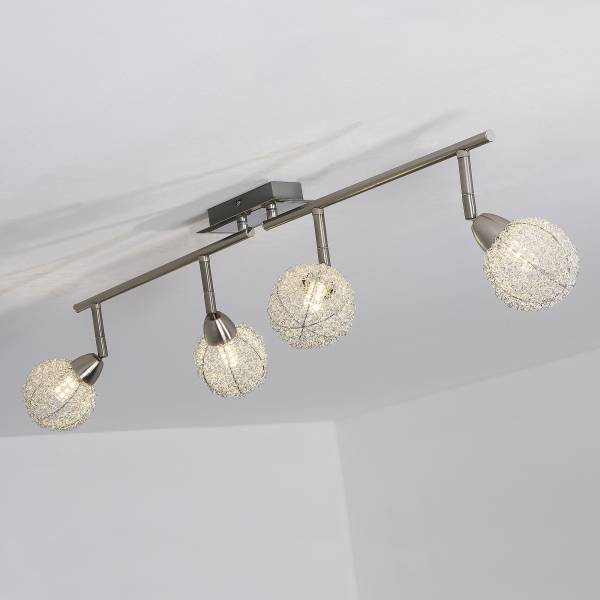 LED Spotrohr, 4-flammig, drehbar, 4x 3.5W LED integriert, 4x 320 Lumen, 3000K, Metall, eisen