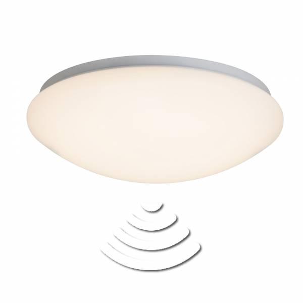 LED Deckenleuchte mit Bewegungsmelder Sensor, 33cm IP44, 12W, 820 Lumen, 3000K warmweiß, Metall / Kunststoff, weiß