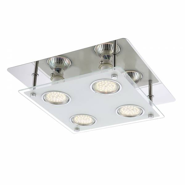 LED Deckenleuchte, 4-flammig, 26cm x 26cm, 4x 2,5W GU10 inkl., 4x 230 Lumen, 3000K warmweiß, Metall / Glas, chrom / transparent mattglas