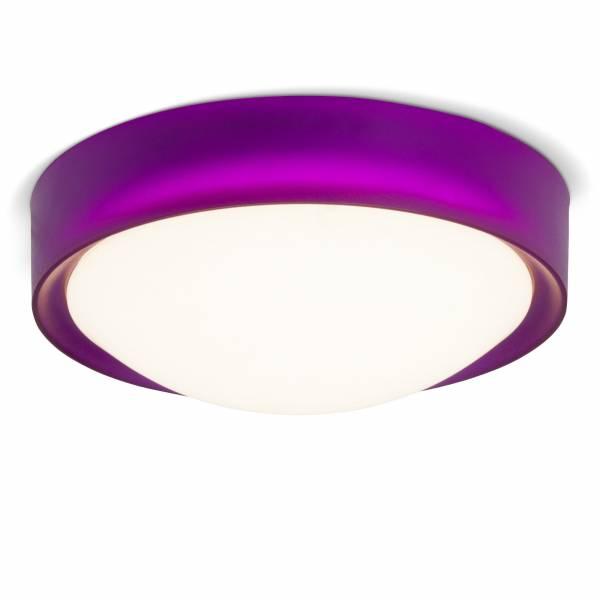 LED 10W Deckenleuchte im trendigen Design mit Leuchtrand, 750 Lumen, 3000K warmweiß, Ø 25 cm, Metall / Kunststoff, violett / weiß
