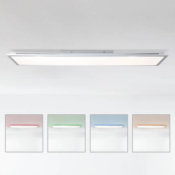 LED Panel Deckenleuchte dimmbar per Fernbedienung, 120x30cm, 42 Watt aus Metall / Kunststoff in silber / weiß