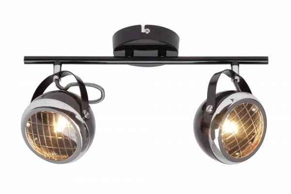 Exklusive Spotrohr Deckenleuchte, 2x 33W G9, 2x 458 Lumen, warmweiß, Metall / Glas, schwarz glanz / chrom