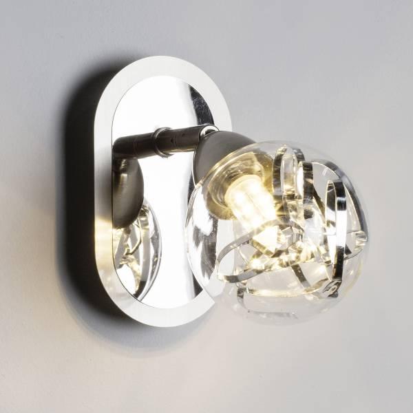 LED Wandspot, 1x 3.5W LED integriert, 1x 320 Lumen, 3000K, Metall / Glas, alu / transparent