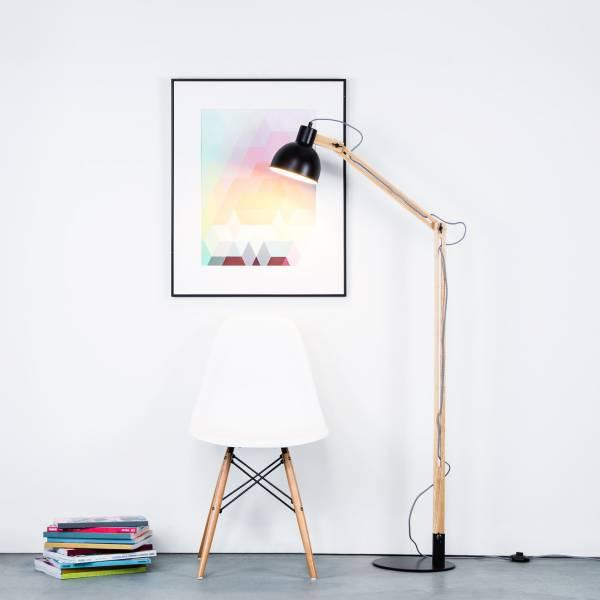Moderne Stehleuchte im Nordic Look mit Textilkabel und Gestell aus Holz, 1x E27 max. 40W/Holz, Metall / Holz, holz hell / schwarz