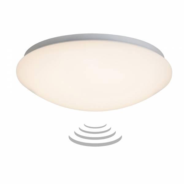 LED 12W Wand- und Deckenleuchte mit Bewegungsmelder, IP44, Ø 33cm, 800 Lumen, 3000K warmweiß, Metall / Kunststoff, weiß