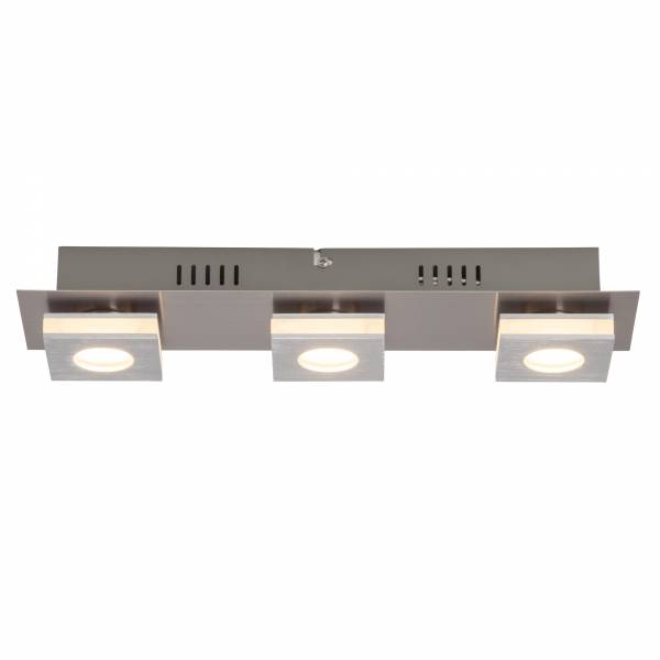 Moderne LED Deckenleuchte, 3x 4W LED integriert, 3x 320 Lumen, 3000K, Aluminium / Kunststoff, nickel / alu