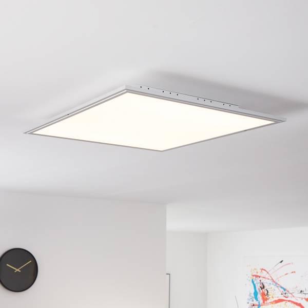 Smarte LED Panel Deckenleuchte per App steuerbar, 60x60cm, 42 Watt, 3310 Lumen, 2700-6200 Kalvin aus Metall / Kunststoff in alu / weiß