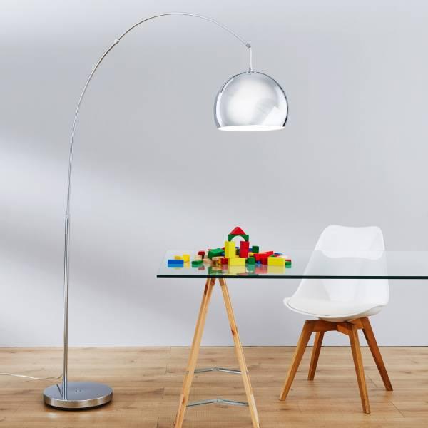Moderne Bogenstehleuchte, Bogenlampe im Lounge Design, H 200cm, 1x E27 max. 60W, Metall, chrom