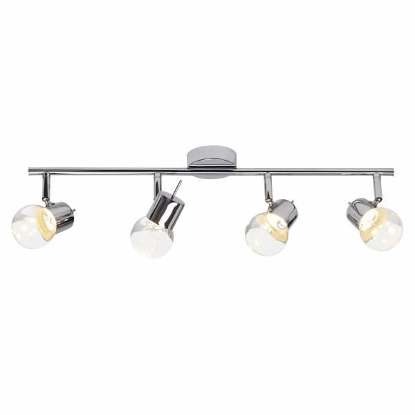 LED Spotrohr, 4-flammig, drehbar, 4x 4.6W LED integriert, 4x 340 Lumen, 3000K, , Metall / Glas, chrom