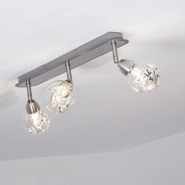 LED Spotrohr, 3-flammig, 3x 3.5W LED integriert, 3x 320 Lumen, 3000K, Metall / Glas, alu / transparent