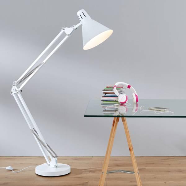 Moderne Standleuchte, XXL Schreibtischleuchte, 1x E27 max. 60W, Metall, weiß matt