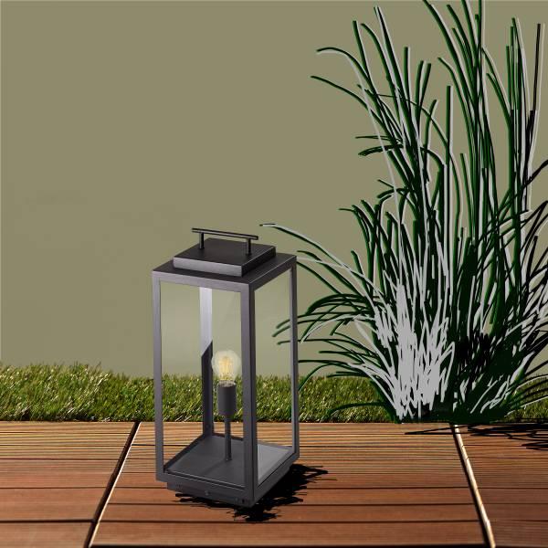 Außenlaterne/Außensockelleuchte, in schwarz 55 x 25 cm, Metall / Glas, max. 60 Watt