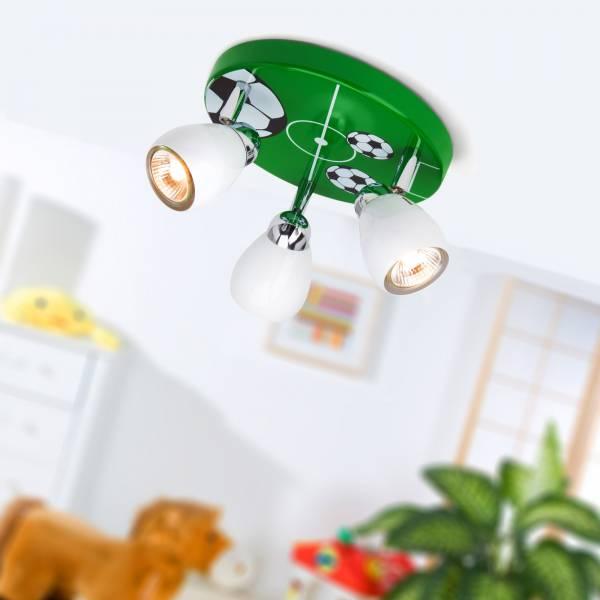 Soccer LED Deckenleuchte, Ø 31 cm, 3x 2,5W GU10 LED inkl., 3x 220 Lumen, 3000K warmweiß, Metall, weiß / grün-schwarz-weiß
