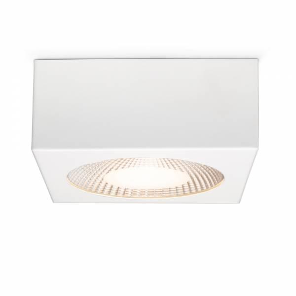 Moderner 10W LED Deckenspot im schlichten Design, 800 Lumen, 3000K, 12 x 12 cm, mit Glasabdeckung, Metall / Glas, weiß