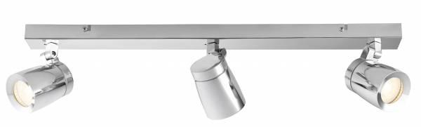 Lightbox Spotleuchte im modernen Stil, spritzwassergeschützt, für Badezimmer und LED Leuchtmittel geeignet, 3x GU10 max. 35W, Metall/Glass - Chrom