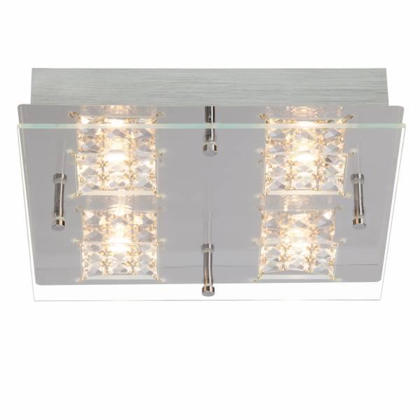 LED Wand- und Deckenleuchte mit Kristallapplikation, 4x 5W, 420 Lumen, 3000K warmweiß, Metall / Glas, chrom / transparent