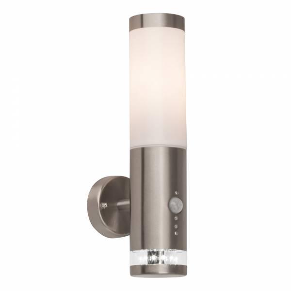 Außenwandleuchte mit Bewegungsmelder inkl. LED Ring mit Dämmerungsschalter, 1x E27 max. 60W, Metall / Kunststoff, edelstahl