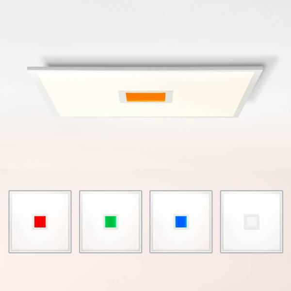 LED Deckenleuchte dimmbar, 60x60 cm, 37 Watt, mit RGB Akzentbeleuchtung per Fernbedienung steuerbar, 2700-6500 Kelvin; Metall/Kunststoff, Weiß