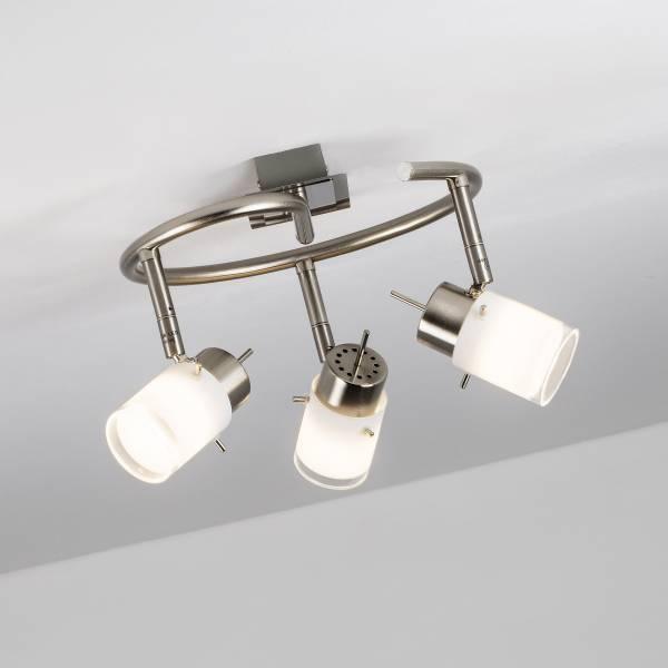 LED Spotspirale, 3-flammig, 3x 4W LED integriert, 3x 400 Lumen, 3000K, Metall / Glas, eisen