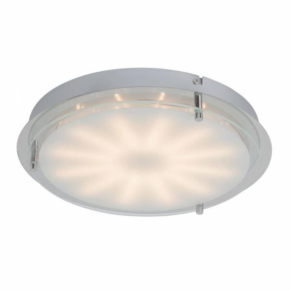 Dekorative LED Wand- und Deckenleuchte, 1x 15W LED, 1x 900 Lumen, 3000K warmweiß, Metall / Glas, chrom