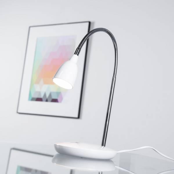 Moderne 3W LED Tischleuchte, Schreibtischleuchte, mit Flexgelenk, 200 Lumen, 3000K warmweiß, Metall / Kunststoff, eisen / weiß