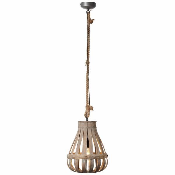 Pendelleuchte 33cm, 1x E27 max. 60W, , Metall / Bambus, natur