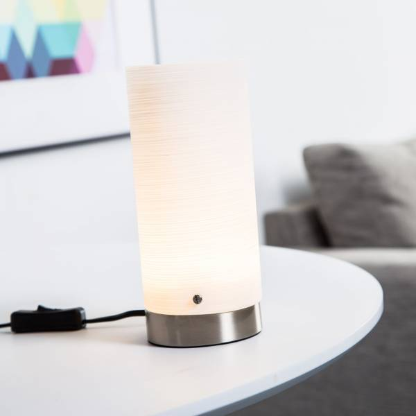 Dekorative LED 3W Tischleuchte, 150 Lumen, H 20 cm, Metall / Glas, eisen / weiß