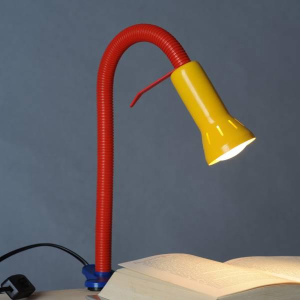 Praktische Klemmleuchte mit Flexgelenk, flexible Arbeitsleuchte, 1x E14 max. 40W, Metall / Kunststoff, mehrfarbig