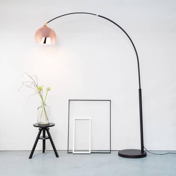 Moderne Kupfer Bogenstehleuchte, Bogenlampe im Retro Lounge Design, H 200 cm, 1x E27 max. 60W, Metall, kupfer / schwarz