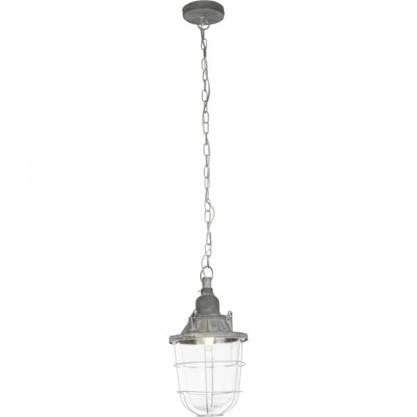 Vintage Pendelleuchte im Industrial Used-Look, H 120cm, 1x E27 max. 60W, Metall / Glas, grau Beton