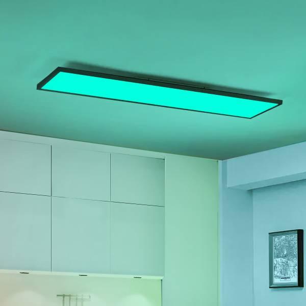 LED Deckenaufbau-Paneel 120x30cm, 40 Watt, RGB Farbwechsel per Fernbedienung steuerbar, dimmbar, 2700-6200 Kelvin, Metall / Kunststoff, Schwarz / Weiß