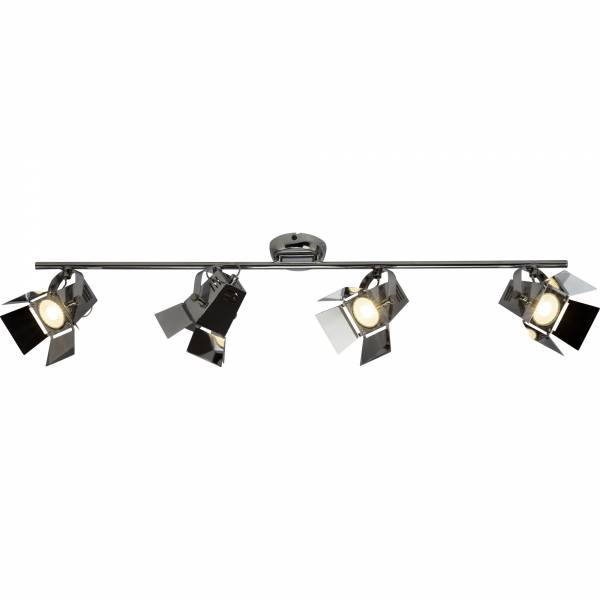 LED Spotrohr, 4x 5W GU10 LED Reflektor inkl., 4x 345 Lumen, 2900K warmweiß, Metall, chrom