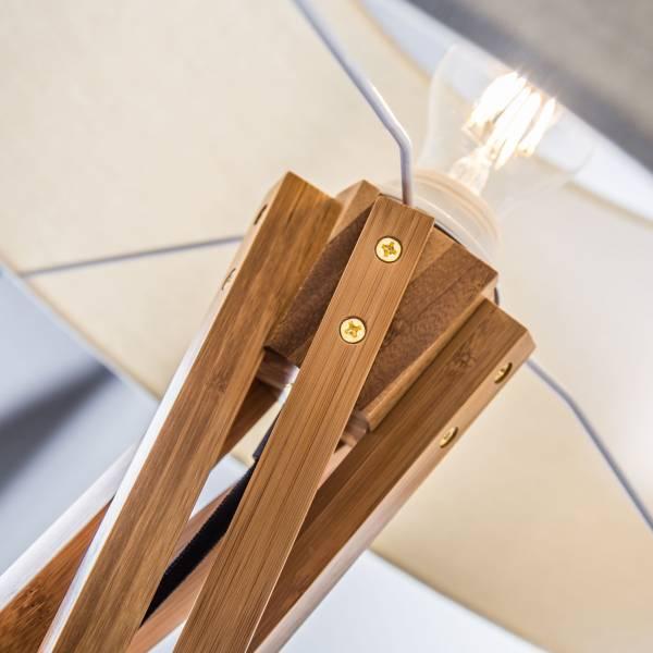 holz stehleuchte stehlampe mit textilschirm stoffschirm wei textil stoff ebay. Black Bedroom Furniture Sets. Home Design Ideas