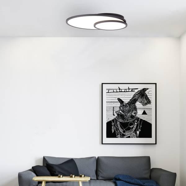 LED Deckenaufbau-Paneel 61x45cm, 1x 42W LED integriert, 1x 4200 Lumen, 2700-6200K, Metall / Kunststoff, schwarz / weiß