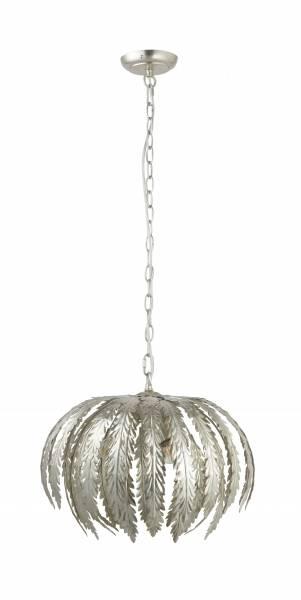 Lightbox dekorative Pendelleuchte im modernen Stil, geeignet für LED Leuchtmittel, höhenverstellbare Kette, 3x E14 max. 40W, Metall - Silber
