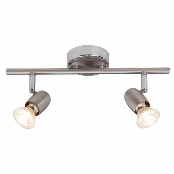 Klassische LED Deckenleuchte / Spotbalken, 2x GU10 2,5W LED inkl., 2x 220 Lumen, 3000K warmweiß, Metall, eisen / chrom