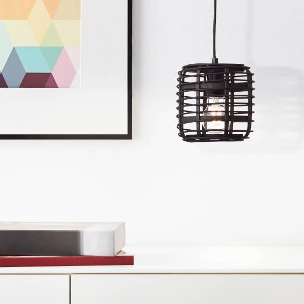 Lightbox Pendelleuchte, Hängeleuchte Bambus, Ø 16cm, E 27 Fassung für max. 40 Watt Leuchtmittel, Bambus/Metall