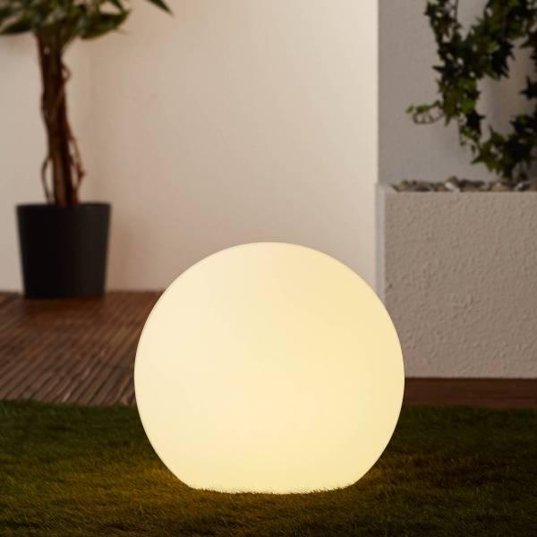 Lightbox hochwertige außen-Lichtkugel Ø30cm, 1x E27 max. 60 Watt, Kunststoff, weiß