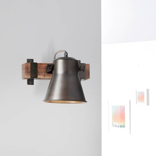 Lightbox Wand Strahler Wandspot Industrial 25x24cm Kopf schwenkbar 1x E27 Metall/Holz, schwarz stahl