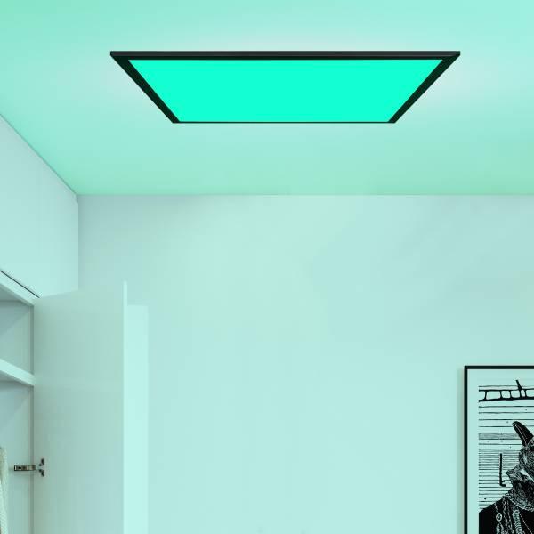 LED Deckenaufbau-Paneel 60x60cm, 40 Watt, RGB Farbwechsel per Fernbedienung steuerbar, dimmbar, 2700-6200 Kelvin; Metall / Kunststoff, Schwarz / Weiß