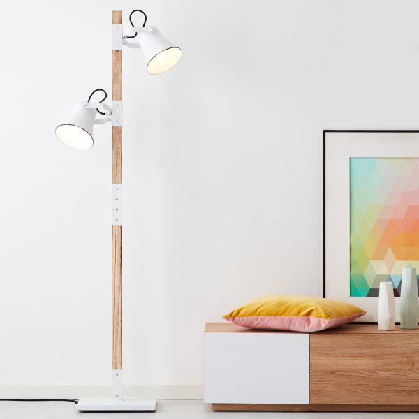 Landhaus Standleuchte in Emaille Optik, 2x E27 max. 10 Watt aus Metall / Holz in hellem Holz und weiß
